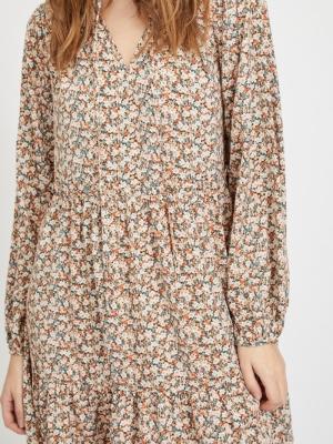 VIMINNIE L-S DRESS -RX Birch/FLOWER