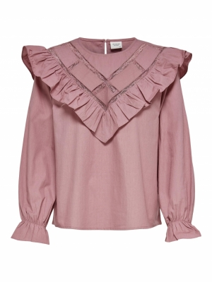 JDYIVY LIFE L-S LACE TOP WVN Nostalgia Rose