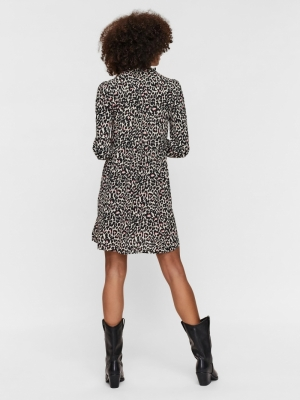 VMSAGA LS SHORT DRESS WVN GA Oatmeal/LINEA