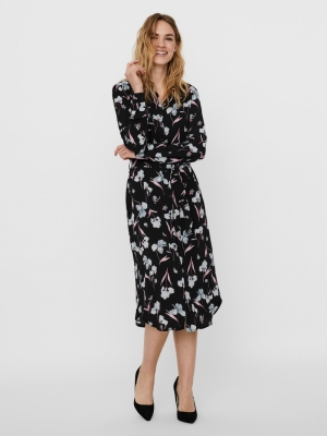 VMROSALITA L-S SHIRT DRESS EXP Black/BIG FLOWE