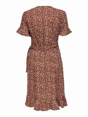 ONLOLIVIA S-S WRAP DRESS WVN N Henna/TWO TONE