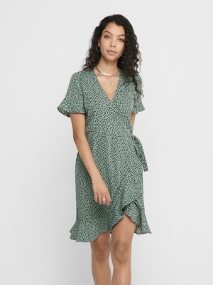 ONLOLIVIA S-S WRAP DRESS WVN N Chinois Green/B