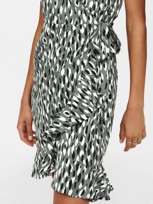ONLOLIVIA S-S WRAP DRESS WVN N Balsam Green/W.