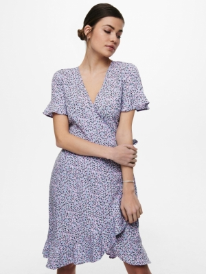 ONLOLIVIA S-S WRAP DRESS WVN N Chinese Violet/