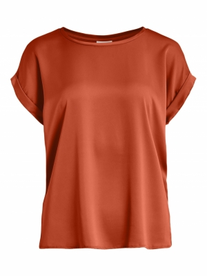 VIELLETTE S-S SATIN TOP-SU - F Burnt Ochre
