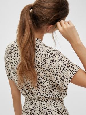 OBJHESSA BIRDY S-S SHIRT DRESS Sandshell/ANIMA