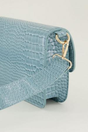 Schoudertas slangenprint croco Lichtblauw