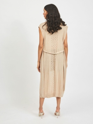 VILESLY LONG KNIT VEST Natural Melange
