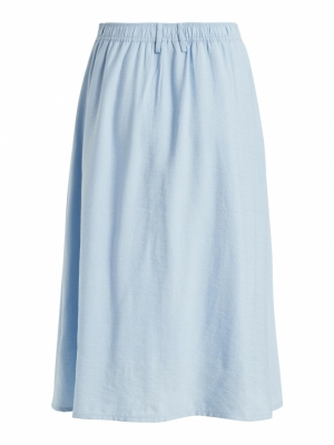 VIEFFY  HW MIDI SKIRT Cashmere Blue