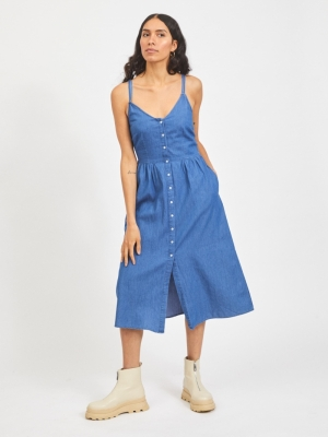 VIFANZI MIDI STRAP DENIM DRESS Medium Blue Den