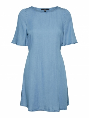 VMVIVIANA 2-4 SHORT DRESS GA Light Blue Deni