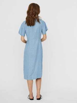 VMVIVIANA SS CALF DRESS GA Light Blue Deni