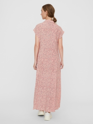 VMHOLLO S-L ANCLE SHIRT DRESS Shocking Pink/H