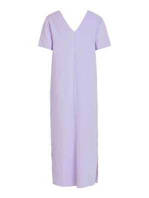 VIGAZELLA S-S ANCLE DRESS-LS Lavender