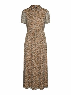 VMKAY SS ANKLE SHIRT DRESS WVN Tan/LEO