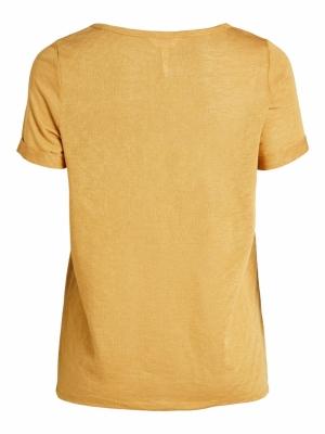 OBJTESSI SLUB S-S V-NECK SC Honey Mustard