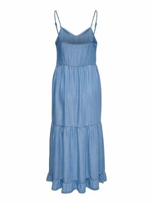 ONLRAGNA STRAP LONG DNM DRESS Light Blue Deni