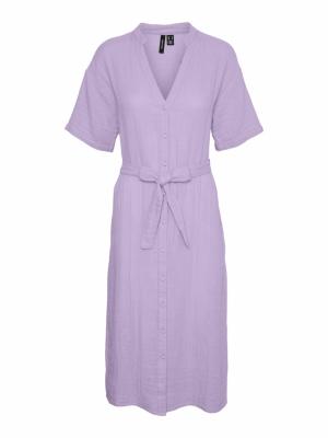 VMPRIM S-S SHIRT CALF DRESS VI Pastel Lilac