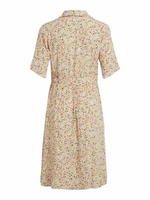 VINAVIZA L-S SHIRT DRESS Birch/W FLOWER