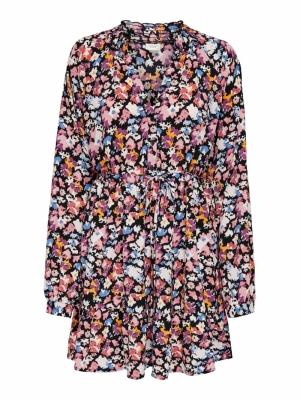 JDYROXANNE L-S SHORT DRESS WVN Black/PASTEL AB