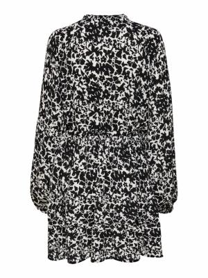 JDYROXANNE L-S SHORT DRESS WVN White/BLACK ABS