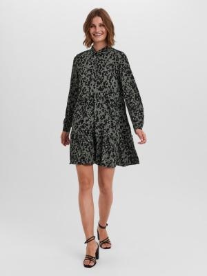 VMSAGA L-S COLLAR PEPLUM DRESS Laurel Wreath/F