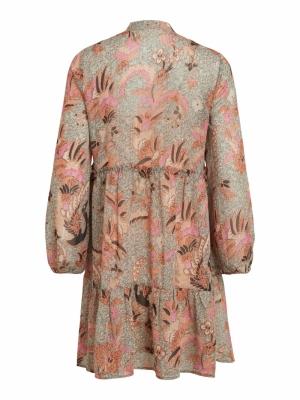 VILOSANA TULLAN L-S DRESS-L Sandshell/FLOWE