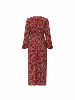 VILIANA V-NECK L-S ANKLE DRESS Old Rose/FLOWER