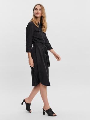 VMSALLY LS LONG DRESS MIX GA C Black Denim