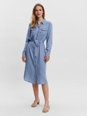 VMSALLY LS LONG DRESS MIX GA C Light Blue Deni