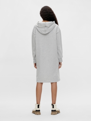 OBJKAISA L-S SWEAT DRESS 117 Light Grey Mela
