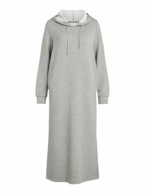 VISIF L-S MID CALF SWEAT DRESS Light Grey Mela