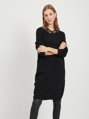 VIRIL L-S KNIT DRESS - NOOS Black