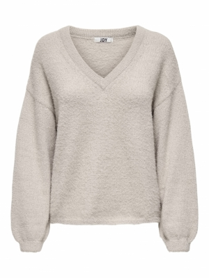 JDYALESSI LIFE L-S V-NECK PULO Simply Taupe