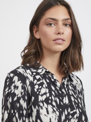 VIGRAFDI L-S SHIRT DRESS-L Black/GRAPHICAL