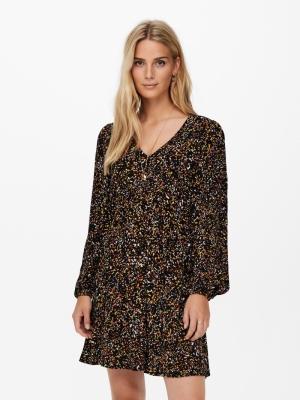 JDYCLAUDIA L-S SHORT DRESS WVN Black/CONFETTI