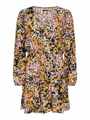 JDYCLAUDIA L-S SHORT DRESS WVN Black/BOLD LEO