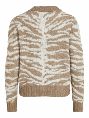 VIELLIE PATTERN L-S KNIT TOP-S Fungi/WHITE ALY