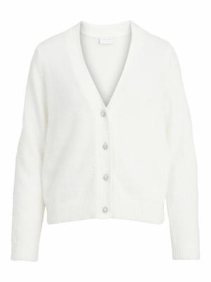VIFEAMI BUTTON L-S KNIT CARDIG White Alyssum