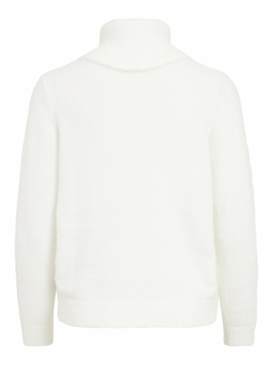 VIFEAMI COWLNECK L-S KNIT TOP- White Alyssum